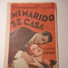 Cine: MI MARIDO SE CASA - PROGRAMA DE MANO DOBLE - PELICULA AÑO 1935. Lote 37473454