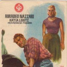 Cine: FOLLETO DE MANO - MANOS SUCIAS. CINE COSO ZARAGOZA 1958. Lote 37498297