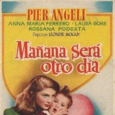 Cine: FOLLETO DE MANO - MAÑANA SERÁ OTRO DÍA. CINE DORADO ZARAGOZA 1955. Lote 37498335