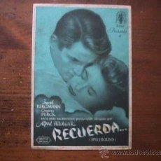 Cine: RECUERDA..., INGRID BERGMANN, GREGORY PECK, SIN PUBLICIDAD. Lote 37501466