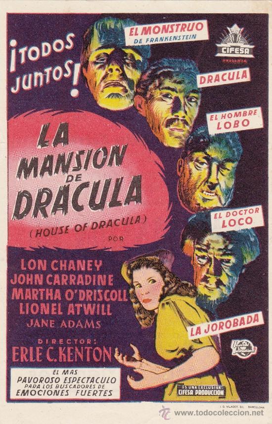 LA MANSION DE DRACULA - CON PROPAGANDA (Cine - Folletos de Mano - Acción)