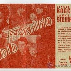 Cine: ARDID FEMENINO, CON GINGER ROGERS.. Lote 37644134