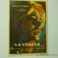 Cine: PROGRAMA LA VERITE - BRIGITTE BARDOT -PUBLICIDAD. Lote 37717086