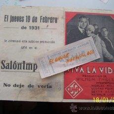 Cine: VIVA LA VIDA,EN170000 FOLLETOS VENDIDOS EN TODOCOLECCION JAMAS SALIO COSA IGUAL. Lote 37714519