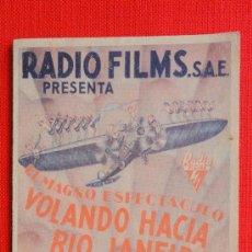 Cine: VOLANDO HACIA RIO JANEIRO, DOBLE 1936, DOLORES DEL RIO, PUBLICIDAD TEATRO MODERNO. Lote 37834228