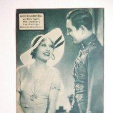 Flyers Publicitaires de films Anciens: AUDIENCIA IMPERIAL - PROGRAMA DE MANO / TARJETA - AÑO 1933. Lote 37864758