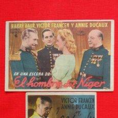 Cine: EL HOMBRE DEL NIGER, 2 SENCILLOS, HARRY BAUR VICTOR FRANCEN, 1 CON PUBLICIDAD ARMERO. Lote 37956457