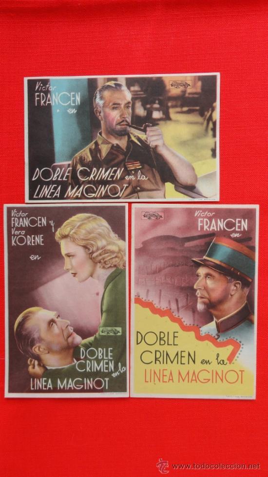 DOBLE CRIMEN EN LA LINEA MAGINOT, 3 SENCILLOS EXCTE. ESTADO, VICTOR FANCEN, SIN PUBLICIDAD (Cine - Folletos de Mano - Suspense)
