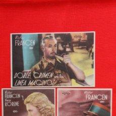 Cine: DOBLE CRIMEN EN LA LINEA MAGINOT, 3 SENCILLOS EXCTE. ESTADO, VICTOR FANCEN, SIN PUBLICIDAD. Lote 37956540