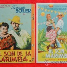 Flyers Publicitaires de films Anciens: AL SON DE LA MARIMBA, 2 PROG, 1 DOBLE CANCIONERO CON PUBLI 1 SENCILLO IMPECABLE ORIGINAL. Lote 38038844