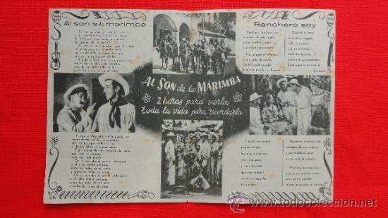 Cine: AL SON DE LA MARIMBA, 2 PROG, 1 DOBLE CANCIONERO CON PUBLI 1 SENCILLO IMPECABLE ORIGINAL - Foto 3 - 38038844