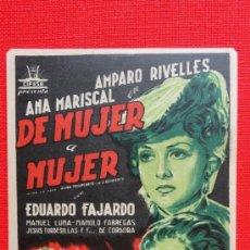 Cine: DE MUJER A MUJER, SENCILLO ORIGINAL, EXCTE. ESTADO, AMPARO RIVELLES, SIN PUBLICIDAD. Lote 38074235