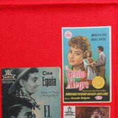 Cine: EL GENIO ALEGRE, 1 DOBLE 2 SENCILLOS, EXCTE. ESTADO, ANTONIO VICO, 2 CON PUBLICIDAD. Lote 38077156