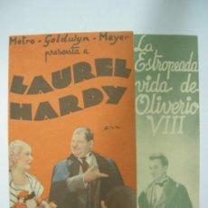 Cine: LA ESTROPEADA VIDA DE OLIVERIO VIII PROGRAMA DOBLE MGM STAN LAUREL OLIVER HARDY. Lote 38114699