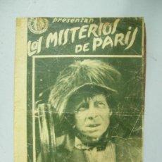 Cine: LOS MISTERIOS DE PARIS PROGRAMA DOBLE GRANDE DISTRIBUIDORES REUNIDOS, LUCIEN BAROUX, 1921. Lote 38120786