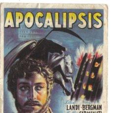 Cine: FOLLETO DE MANO- APOCALIPSIS-CON PUBLICIDAD CINE DOMENECH RUBI-1948.. Lote 38118443
