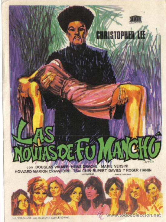 FOLLETO DE MANO- LAS NOVIAS DE FU MANCHU- SIN PUBLICIDAD -1967. (Cine - Folletos de Mano - Terror)
