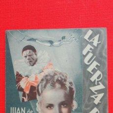 Cine: LA FUERZA BRUTA, DOBLE EXCTE. ESTADO 1944, JUAN DE LANDA, CON PUBLICIDAD MODERNO ALEIXAR. Lote 38173095