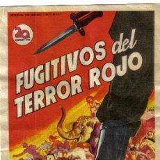Cine: FOLLETO DE MANO- FUGITIVOS DEL TERROR ROJO - SIN PUBLICIDAD.. Lote 38203186