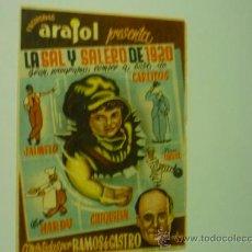 Cine: PROGRAMA LA SAL Y SALERO DE 1920--ARAJOL-PÙBLICIDAD. Lote 38255716