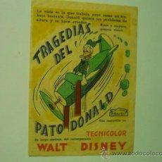 Cine: PROGRAMA DISNEY TRAGEDIAS DEL PATO DONALD.- ARAJOL-PUBLICIDAD. Lote 38350510