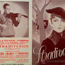 Cine: STRADIVARIUS- PROGRAMA DOBLE- FILM ALEMAN 1935-ESTADO PERFECTO-SALA EDISON, FIGUERAS (GERONA). Lote 38369594
