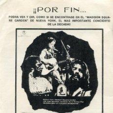 Cine: CONCIERTO PARA BANGLA DESH 1972 (FOLLETO ORIGINAL CON PUBLI ) BOB DYLAN-GEORGE HARRISON-RINGO STARR . Lote 38387127