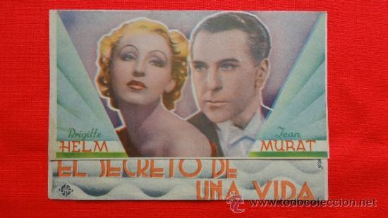 EL SECRETO DE UNA VIDA, DOBLE EXCTE. ESTADO, BRIGITTE HELM JEAN MURAT, CON PUBLI CINEMA METROPOL (Cine - Folletos de Mano - Drama)