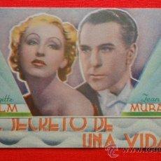 Cine: EL SECRETO DE UNA VIDA, DOBLE EXCTE. ESTADO, BRIGITTE HELM JEAN MURAT, CON PUBLI CINEMA METROPOL. Lote 38406610