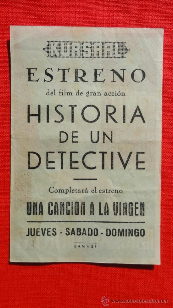 Cine: HISTORIA DE UN DETECTIVE, EXCELENTE ESTADO, SENCILLO, DICK POWELL, CON PUBLICIDAD KURSAAL - Foto 2 - 38459244