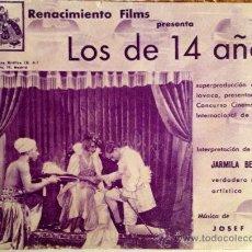 Cine: LOS DE 14 AÑOS- PROGRAMA DOBLE- FILM CHECOSLOVACO 1935-RARO. Lote 38473595