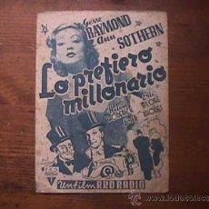 Cine: LO PREFIERO MILLONARIO, GENE RAYMOND, ANN SOTHERN, CINE HERMANOS MILLARES, LAS PALMAS G. C.. Lote 38594532