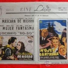 Cine: CARTELITO LOCAL LA MASCARA DE HIERRO Y LA MUJER FANTASMA, BONITO LOCAL CINE LIDO 27,5 X 22 CMS.. Lote 38659609