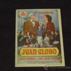 Cine: JUAN GLOBO - ELINA COLOMER - LUIS SANDRINI - CINE ALISEOS 1950 -. Lote 38904539