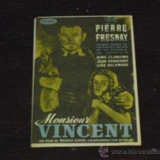 Cine: MONSIEUR VINCENT - PIERRE FRESNAY AIMÉ CLARIOND - CINE DORADO -. Lote 38904658