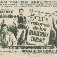 Cine: EL RETORNO DE LOS HERMANOS CORSOS. Lote 38947349
