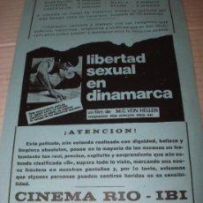 Cine: ANTIGUO PROGRAMA DE MANO CINE LOCAL * LIBERTAD SEXUAL EN DINAMARCA * CINE RIO DE IBI AÑO 1978. Lote 38989325