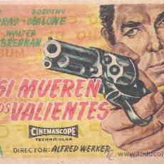 Cine: FOLLETO DE MANO - ASI MUEREN LOS VALIENTES. CINE PALAFOX ZARAGOZA 1958. Lote 38986216