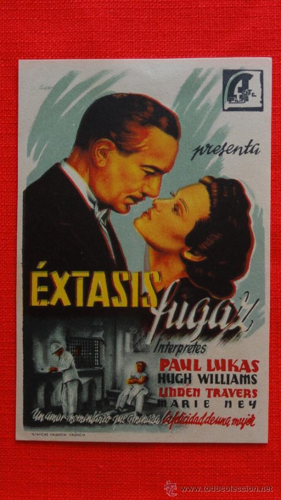 EXTASIS FUGAZ, IMPECABLE SENCILLO ORIGINAL,PAUL LUKAS MARIE NEY, SIN PUBLICIDAD (Cine - Folletos de Mano - Acción)