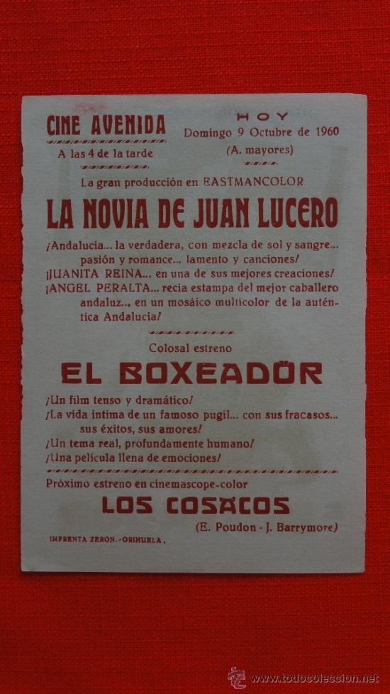 Cine: EL BOXEADOR, SENCILLO DE JANO 1960, EXCTE. ESTADO, JOAQUÍN CORDERO ARIADNA WELTER PUBLICIDAD AVENIDA - Foto 2 - 38991331