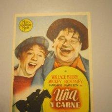 Cine: PROGRAMA DE CINE - UÑA Y CARNE - 1938. Lote 39005365