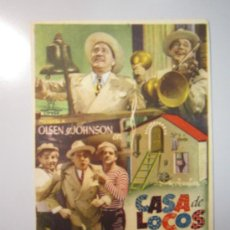 Cine: PROGRAMA DE CINE - CASA DE LOCOS - 1943. Lote 39005534