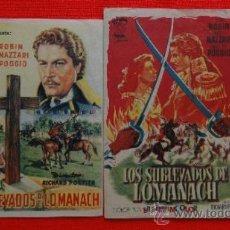Cine: LOS SUBLEVADOS DE LOMANACH, 2 PROGRAMAS ORIGINALES, EXCTE. ESTADO, DANY ROBIN, 1 CON PUBLICIDAD IRIS. Lote 39018741