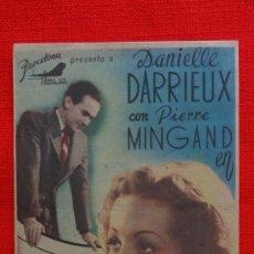 Cine: MADEMOISELLE MOZART, SENCILLO ORIGINAL, EXCTE. ESTADO, DANIELLE DARRIEUX, SIN PUBLICIDAD. Lote 39019153