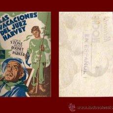 Cine: LAS VACACIONES DEL JUEZ HARVEY - SIN PUBLICIDAD - PROGRAMA DE CINE ORIGINAL AÑO 1937. Lote 39340308