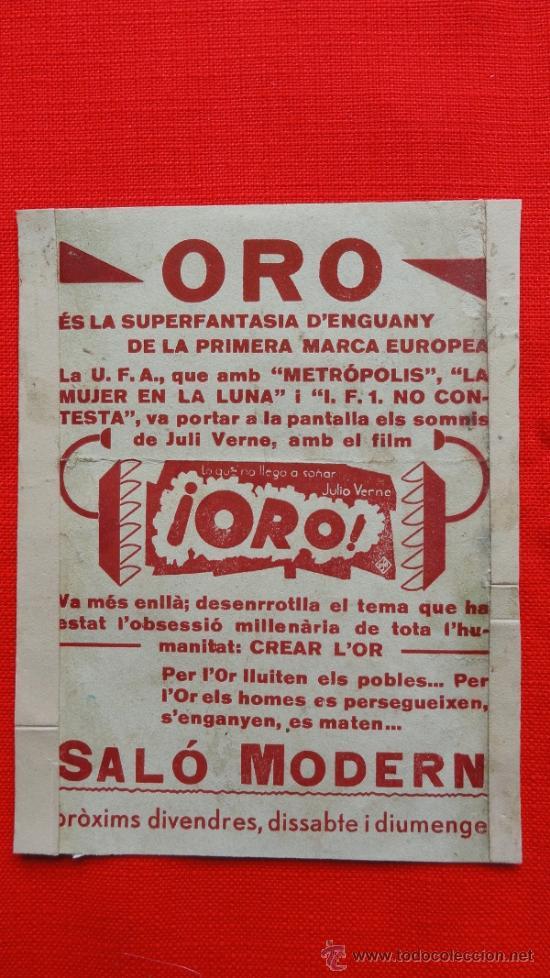 Cine: ORO, PROGRAMA SENCILLO CARTONCILLO, BRIGITTE HELM HANS ALBERS, AÑOS 30 PUBLI SALÓ MODERN - Foto 2 - 39024760