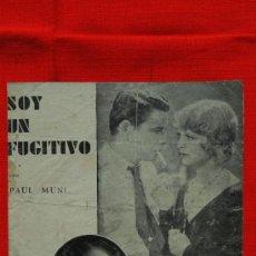Cine: SOY UN FUGITIVO, DOBLE, PAUL MUNI, SIN PUBLICIDAD. Lote 39040843