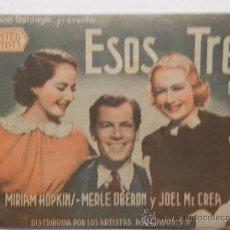 Foglietti di film di film antichi di cinema: ESOS TRES - PROGRAMA DE MANO DOBLE - LOS ARTISTAS ASOCIADOS - AÑO 1936. Lote 39089385