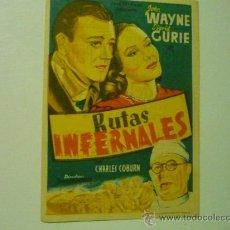 Cine: PROGRAMA RUTAS INFERNALES .-JOHN WAYNE- PUBLICIDAD. Lote 84220768