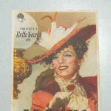 Cine: PROGRAMA DE CINE - LA LOBA - 1941 - PUBLICIDAD - DOBLADO. Lote 39218534
